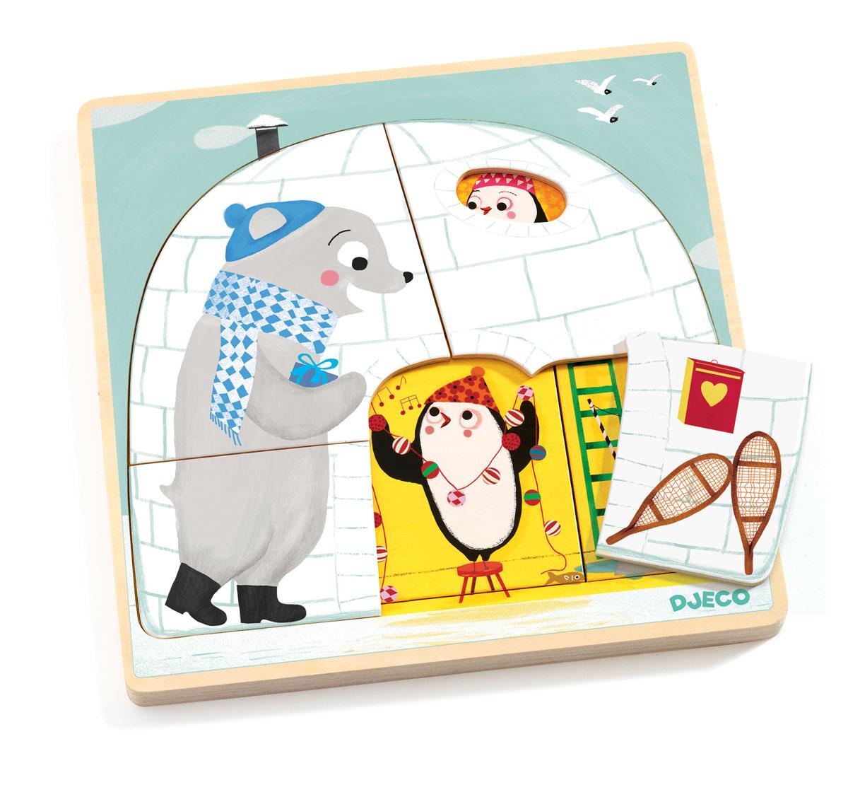 Djeco Пазл для малышей Иглу01485Деревянный пазл Иглу от французского производителя игрушек Djeco – великолепный трехслойный пазл для малышей от 2-х лет. Пазл представляет собой деревянное поле размером 22 х 22 см. Поле состоит из трех слоев, каждый из которых «рассказывает» увлекательные истории из жизни забавных пингвинчиков. Первый слой пазла состоит из 4-х деталей, второй – из 3-х, третий – из 2-х. Набор прекрасно развивает логику ребенка, тренирует моторику и тактильные ощущения. Детали будут давать ребенку представление о формах и объемах. Набор продается в красивой коробке и идеально подходит для подарка. Все детали изготовлены из высококачественных материалов.