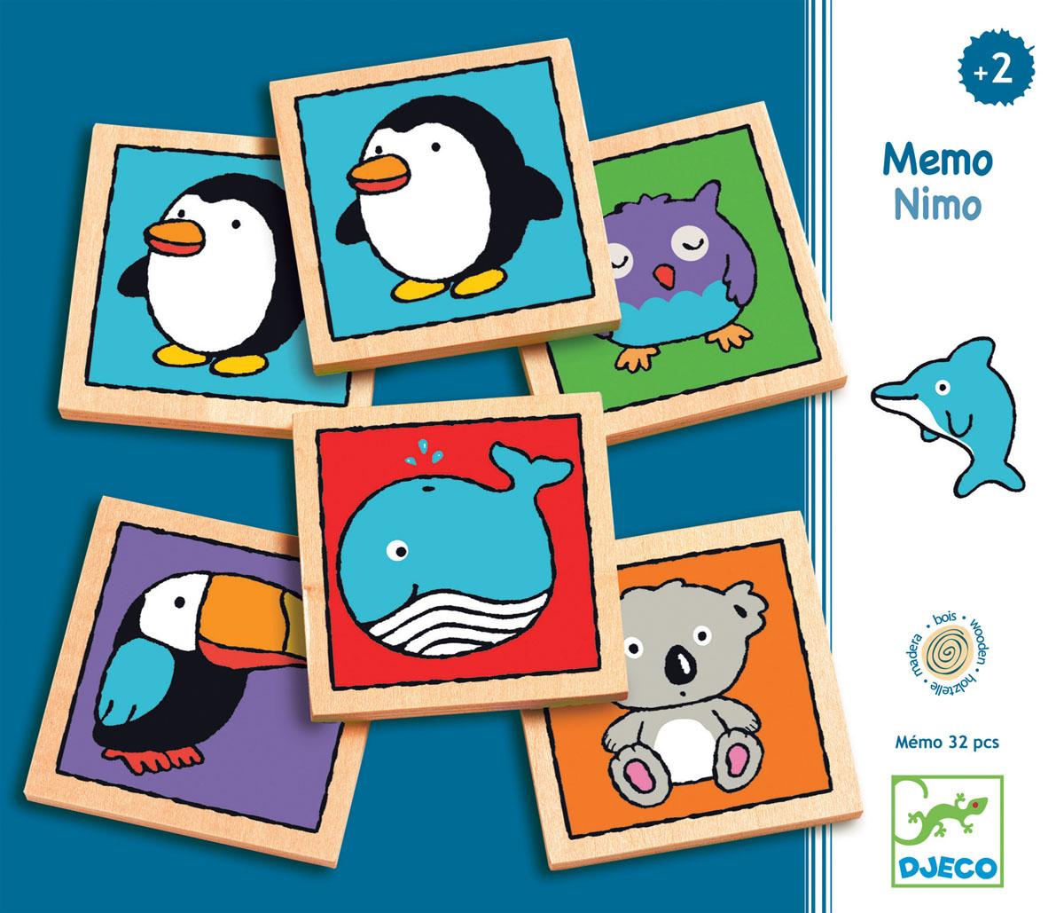 Djeco Настольная игра Мемо-нимо01637Настольная игра Мемо-нимо – восхитительная развивающая игра на память для малышей от 2-х лет от Djeco! В наборе ваш ребенок найдет 32 деревянные карточки с парными изображениями птиц, животных и морских обитателей. Ребенку нужно запомнить расположение карточек, перевернуть их картинками вниз, а затем, переворачивая обратно, найти карточки с одинаковыми картинками. Все детали набора изготовлены из высококачественных нетоксичных материалов. Набор продается в яркой подарочной коробке. Настольная игра Мемо-нимо прекрасно подойдет в качестве развлечения для любого детского праздника. Игра развивает логическое мышление, сообразительность и внимательность ребенка, учит его усидчивости и терпению.