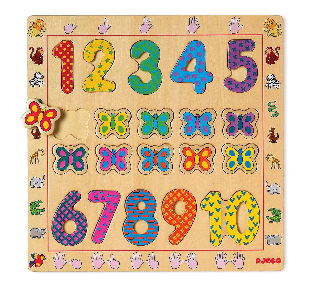 Djeco Пазл для малышей От до01801Деревянная рамка-вкладыши с цифрами от 1 до 10..