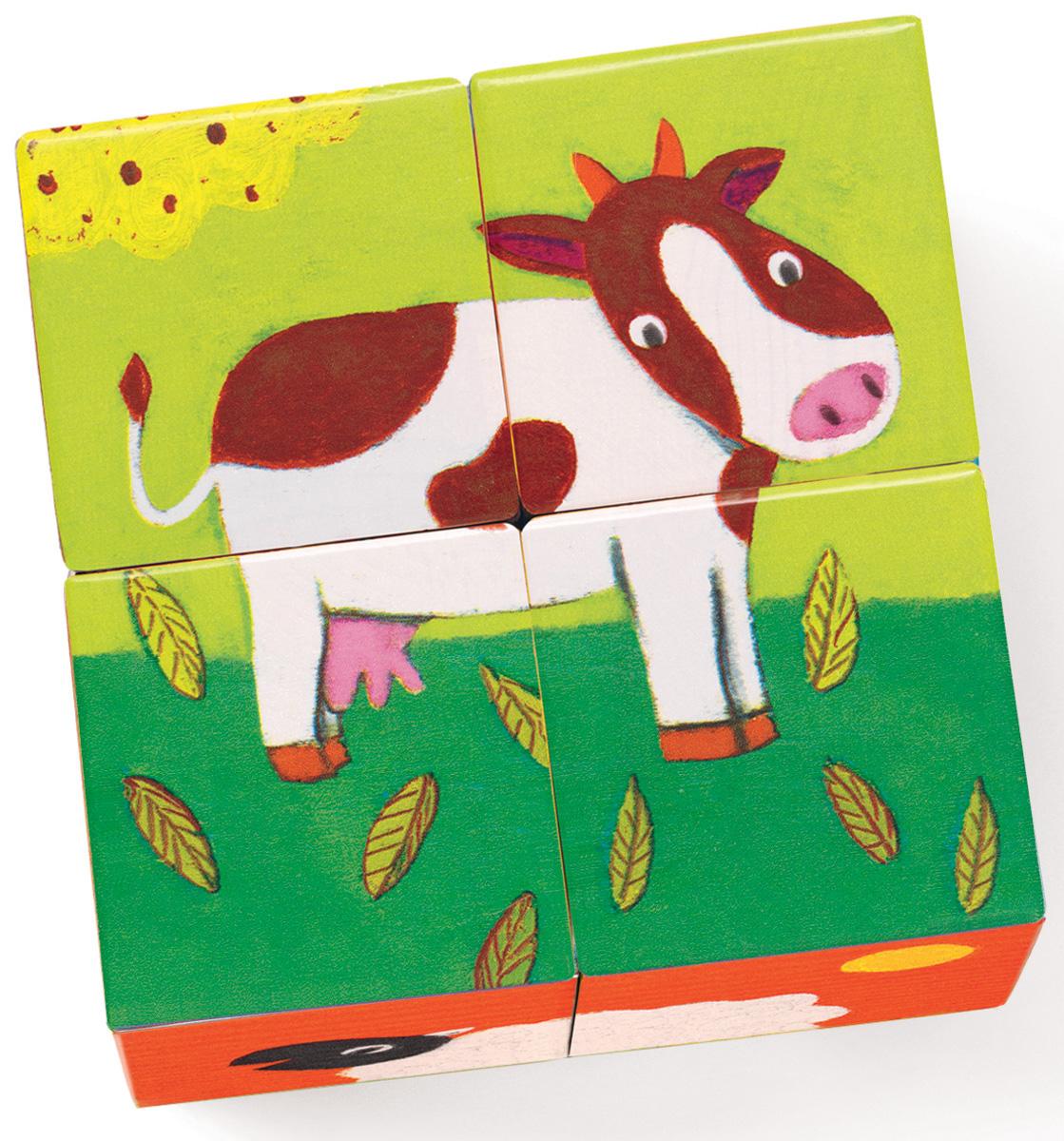 Djeco Кубики Ферма01900Кубики Ферма подарят Вашему ребенку много радостных минут. Он будет с увлечением играть с деревянными кубиками и рассматривать картинки. Дети смогут весело провести время за игрой и познакомиться к домашними животными, живущими на ферме. На каждой стороне изображена часть животного. Собрав 4 кубика вместе, малыш увидит красочную картинку. Игра развивает мелкую моторику, пространственные навыки, ловкость и координацию движений. В наборе 4 кубика.