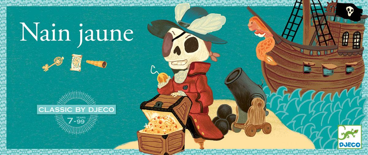 Djeco Настольная игра Желтый карлик05207Настольная игра Желтый карлик от Джеко Djeco - великолепная веселая игра на пиратскую тематику для детей старше 7 лет. В наборе: 1 игровая доска с 5 картами выиграша, 1 сундук капитана Крюка, 52 карты (в том числе 5 выигрышных), 78 жетонов (12 алмазов, 12 рубинов, 12 сапфиров, 12 изумрудов, 30 слитков золота), подробные правила игры. Количество игроков: 2-4 человека. Цель игры состоит в том, чтобы собрать как можно больше сокровищ.