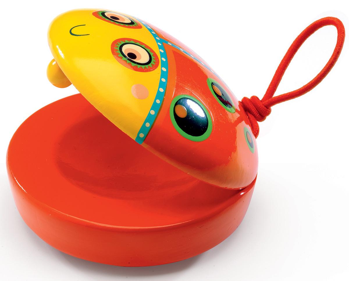 Djeco Кастаньет06007Красочный и симпатичный кастаньет в виде рыбки из новой коллекции музыкальных инструментов Djeco станет прекрасным дополнением к музыкальной коллекции вашего малыша и отличным подарком для юных меломанов. Яркая рыбка-кастаньет легко помещается в маленькой детской ручке и издает приятный хлопающий звук. Кастаньет сделан из высококачественного дерева, покрыт безопасными нетоксичными красками. Продается в яркой подарочной упаковке.
