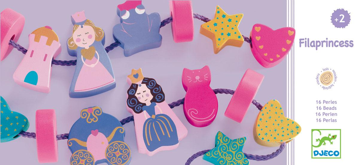 Djeco Шнуровка-бусы Принцессы06163Невероятно полезная игрушка, развивающая мелкую моторику, творческое мышление и фантазию. Нанизывайте красочные, разные по форме и изображению деревянные фигурки на шнурок, меняйте местами составляющие или убирайте лишние бусины, тем самым каждый раз получая новые бусы. Такое интересное и простое занятие развивает в ребенке чувство прекрасного, понимание пропорций и начальные знания о сочетаемости цветов. В набор входит 18 фигур-бусинок, шнурок.
