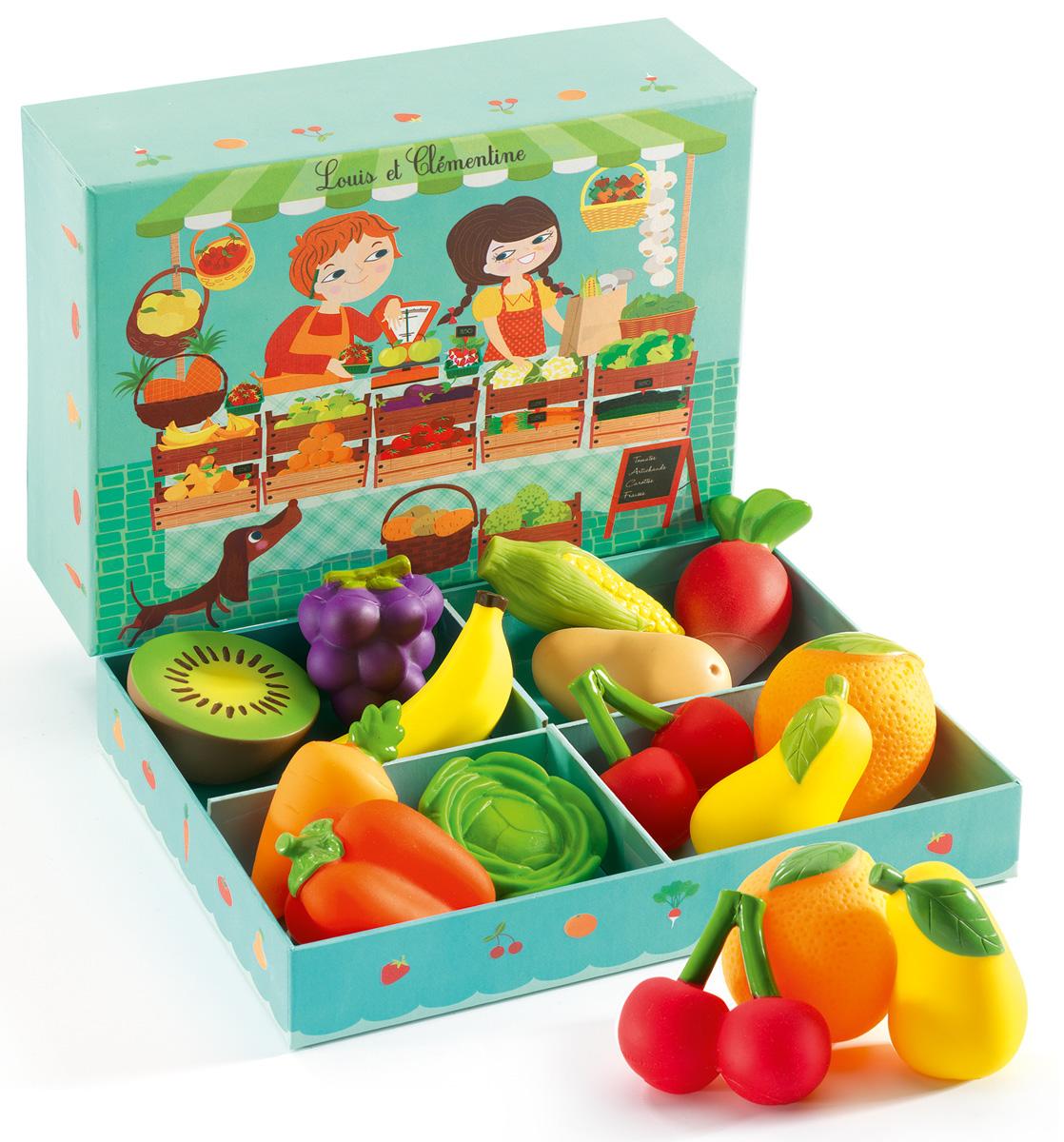 Djeco Сюжетно-ролевая игра Луис и Клементина06621Добро пожаловать в овощную лавку «Луис и Клементина»! Здесь ребенок найдет много разнообразных резиновых овощей и фруктов – морковку, капусту, апельсин, кукурузу, виноград и прочее. Сюжетно-ролевая игра Овощная лавка позволяет детям придумывать множество интересных игр – в магазин, в ресторан и многое другое. В комплекте: 12 резиновых фруктов и овощей.
