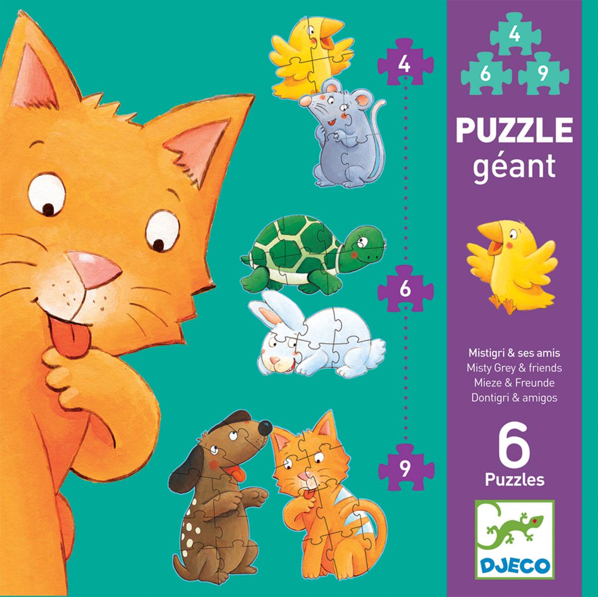 Djeco Пазл для малышей Мистигри и его друзья07113Пазл позволит ребенку познакомиться с забавным котенком и его веселыми друзьями: собачкой, черепашкой, зайчиком, мышонком и цыпленком. Картинки отличаются уровнем сложности. В самых простых всего 4 элемента, в более сложных - 6 и 9 элементов. Складывание пазлов - отличное занятие для детей, развивающее внимательность, мелкую моторику рук, воображение, логическое мышление, зрительное восприятие, усидчивость. В наборе 3 пары пазлов по 4, 6, 9 элементов