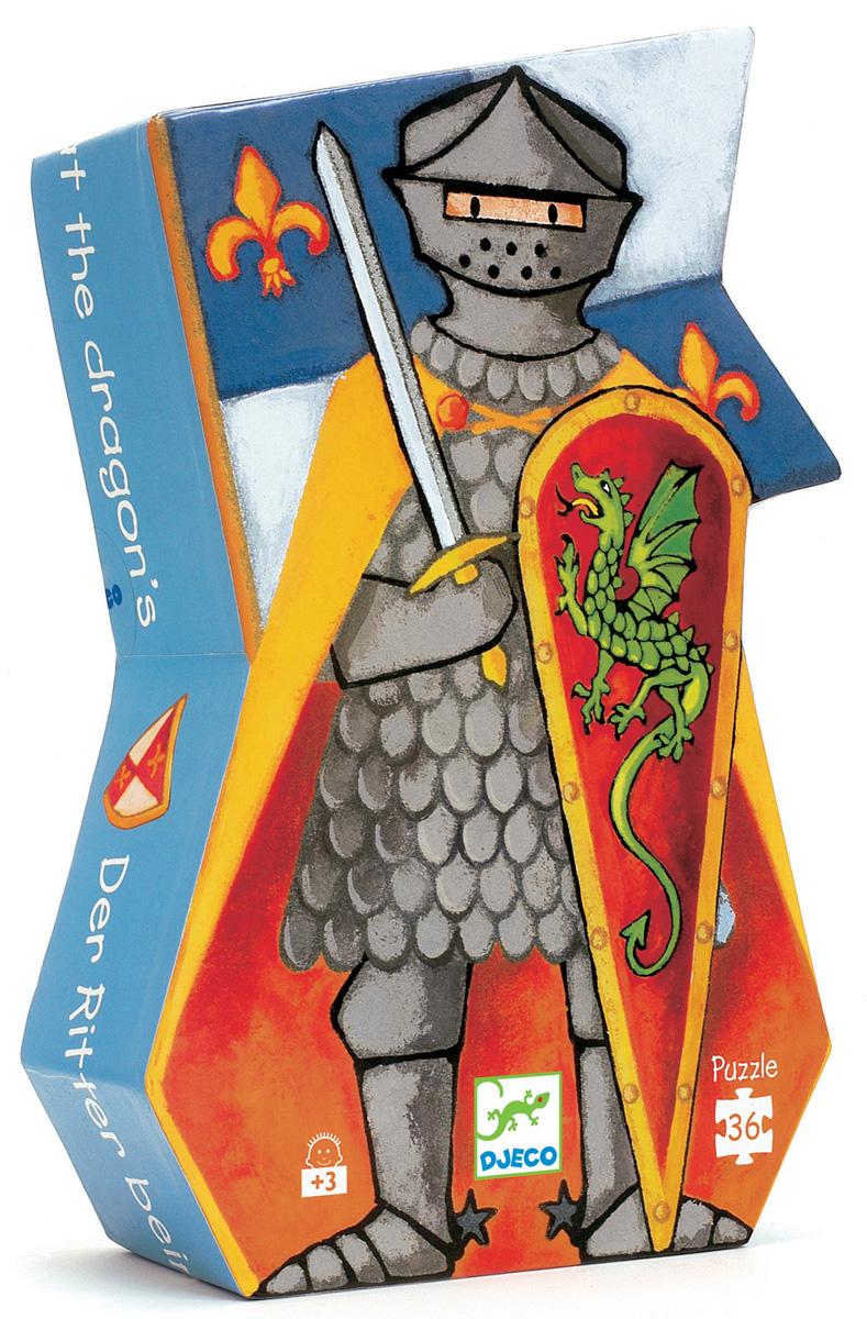 Djeco Пазл для малышей Рыцарь и дракон07223Игра с пазлами развивает внимательность, мелкую моторику рук, воображение, логическое мышление, зрительное восприятие, усидчивость. Пазл «Рыцарь и дракон» - замечательный пазл в красивой фигурной коробке в форме рыцаря приведет в полный восторг мальчишек, которые интересуются эпохой рыцарей, и знают толк в рыцарских турнирах. Сложив картинку полностью, ребенок сможет увидеть, как отважный рыцарь сражался со сказочным драконом, защищая свое королевство.