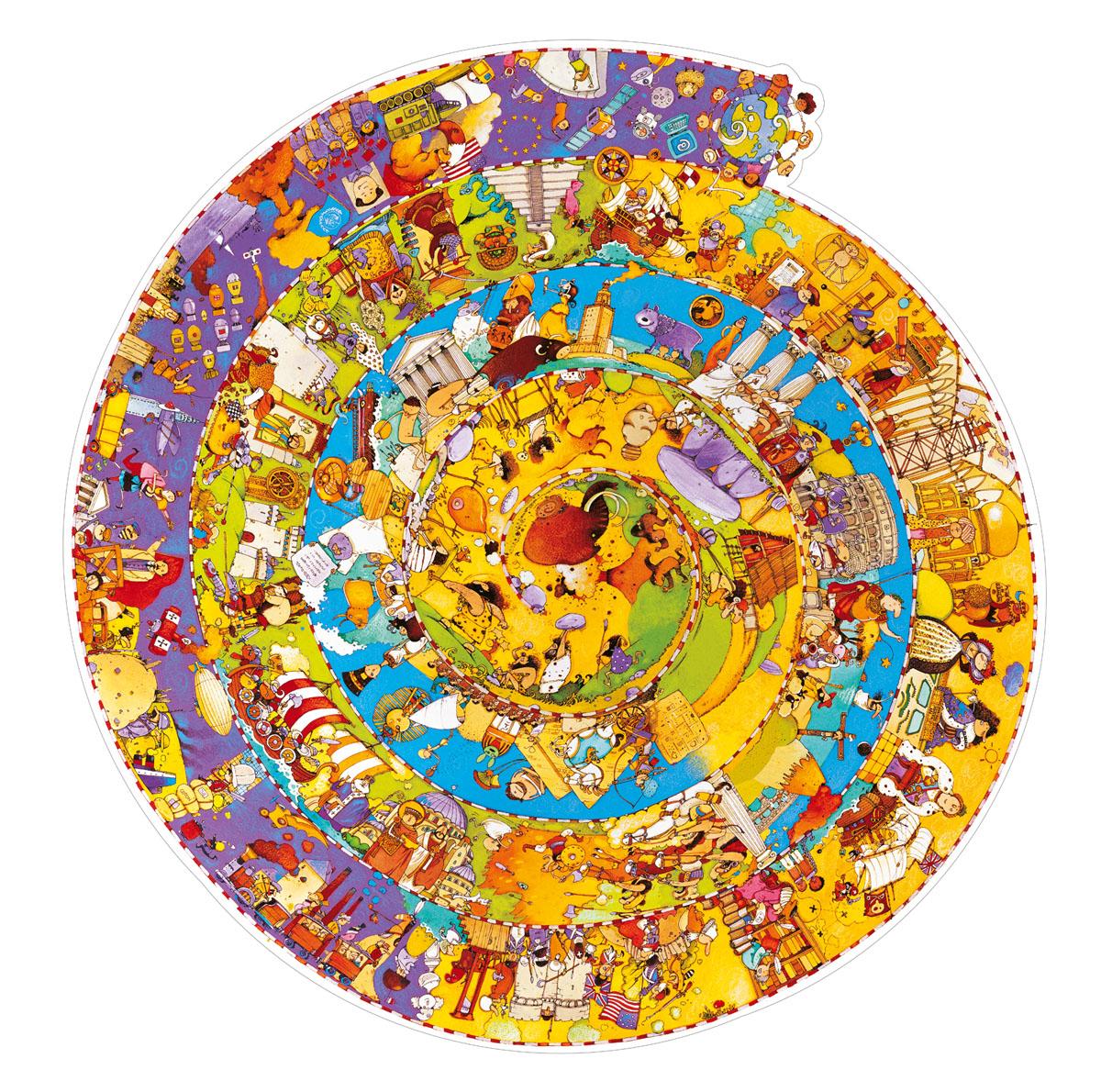 Djeco Пазл для малышей История07470Пазл на наблюдательность «История» - чудесная красочная головоломка, состоящая 350 деталей, способствующая знакомству малыша с мировой историей в форме увлекательного процесса складывания и развития ряда полезных качеств и навыков: внимания, наблюдательности, терпения, мелкой моторики рук, сообразительности. Пазл, оформленный в виде спирали, по мере складывания, будет открывать деткам все новые захватывающие исторические факты. Картинку можно складывать постепенно, небольшими порциями осваивая новую информацию. Детали мозаики изготовлены из трехслойного картона превосходного качества. За счет высокой плотности они не деформируются, а благодаря своим размерам становятся удобными для маленьких детских ручек.
