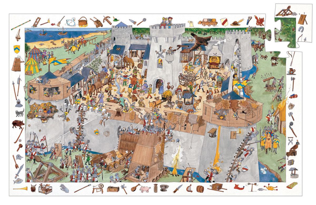 Djeco Пазл для малышей Замок-форт07503Пазл и игра на наблюдательность Замок-форт. Это очень интересный пазл из 100 элементов и игра на наблюдательность. Суть игры этой игры состоит в следующем: по краю поля изображены мелкие детали, которые также присутствуют внутри пазла. Нужно найти и собрать всю картинку полностью. Это многокадровая развивающая картинка – пазл. Картинки отличаются уровнем сложности. Пазл развивает моторику пальчиков рук, воображение, наблюдательность Вашего малыша.