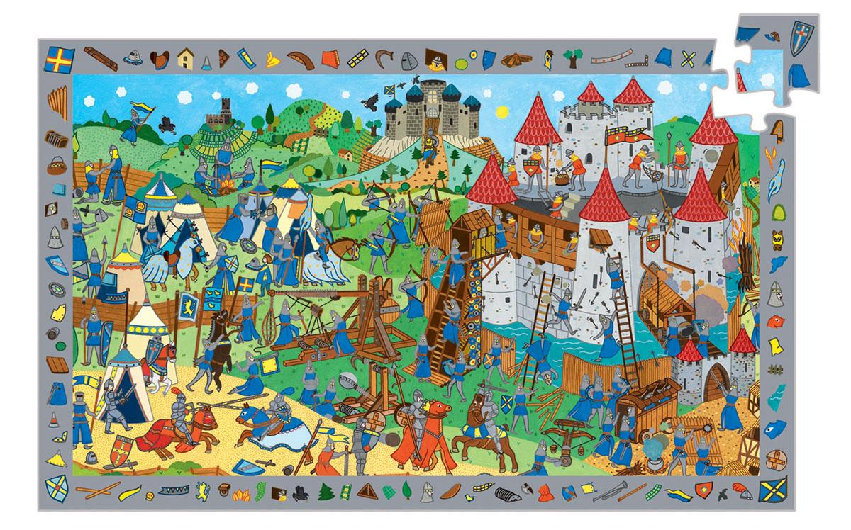 Djeco Пазл для малышей Рыцари07559Пазл и игра на наблюдательность Рыцари. Это очень интересный пазл из 200 элементов и игра на наблюдательность. Суть игры этой игры состоит в следующем: по краю поля изображены мелкие детали, которые также присутствуют внутри пазла. Нужно найти и собрать всю картинку полностью. Это многокадровая развивающая картинка – пазл. Картинки отличаются уровнем сложности. Пазл развивает моторику пальчиков рук, воображение, наблюдательность Вашего малыша.