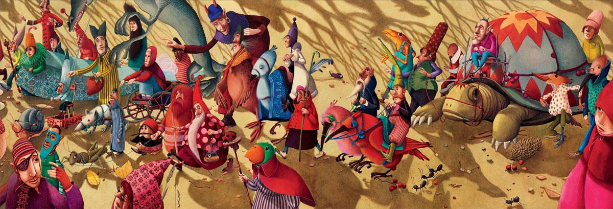Djeco Пазл для малышей Фантастический парад07613Красивый пазл Фантастический парад состоит из 350 деталей - пазлов. Ваш ребенок с большим интересом будет составлять красивую картину, изображающую фантастический парад. Удивительно, что конечный результат больше похож на настоящее произведение искусства, чем на головоломку. Пазл Фантастический парад Djeco- замечательный подарок девочке и мальчику, способствующий развитию мелкой моторики, логики, внимательности и усидчивости.