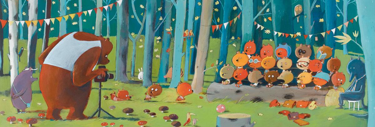 Djeco Пазл для малышей Лесные друзья07636Пазл Лесные друзья от французского производителя игрушек Djeco – великолепный увлекательный пазл-картинка, созданный художником Olivier Jallec. В наборе ребенок найдет 100 красочных интересных деталей, с помощью которых нужно собрать длинную картинку с изображением забавных лесных животных. На пазле изображен забавный медведь, который фотографирует маленьких лисичек. Пазл можно вставить в рамку и украсить им детскую комнату.