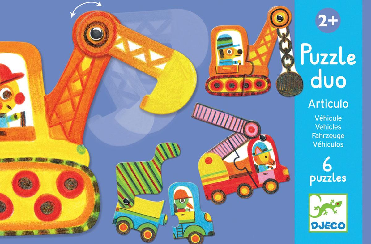 Djeco Пазл для малышей Машинки08170Пазл-дуо Машинки от французского производителя Djeco - первые пазлы для маленьких строителей и прекрасная развивающая игрушка. Цель игры состоит в том, чтобы дополнить машинку или строительную технику необходимой деталью: самосвал кузовом, бульдозер ковшом. Ну а какая именно часть подойдет должен догадаться малыш самостоятельно. Из всех деталей можно собрать 6 разных видов транспорта. Все машинки получаются очень яркими, они сразу привлекут внимание ребенка и еще надолго увлекут его в игре.