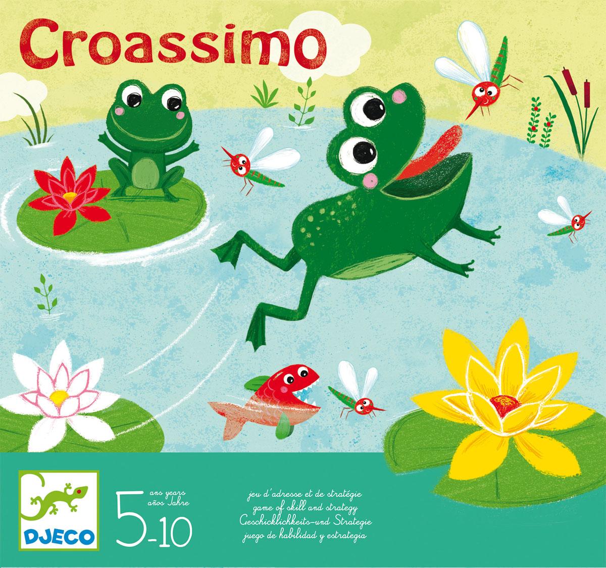 Djeco Настольная игра Кроассимо08433Настольная игра Кроассимо от Джеко – веселая настольная игра с забавными лягушатами, которая станет прекрасным развлечением для детей. Игровое поле представляет собой пруд с лягушатами и рыбками. Лягушки прыгают с лилии на лилию для того, чтобы поесть комаров. Однако, игрокам стоит быть очень осторожными - голодные рыбы пытаются украсть их ужин и могут оставить лагушат без лакомства! В наборе: 4 фишки, 4 карточки с лилиями, карточки с комарами. Набор продается в яркой подарочной коробке.
