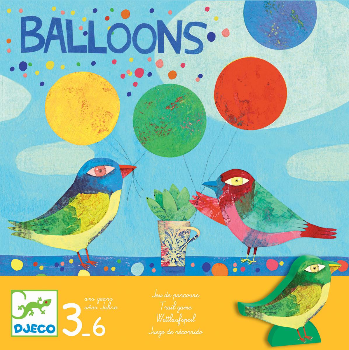 Djeco Настольная игра Воздушные шары08452Настольная игра Воздушные шары от известного французского производителя Djeco – веселая игра для детей возрастом от 3 до 6 лет! Игра развивает логическое мышление детей, воображение, внимание. Птички отправились на поиски воздушных шариков, которые уплыли далеко в небо. Кто из них первым вернет 4 шарика? Первая настольная вашего малыша от Djeco запомнится ему благодаря уникальному дизайну и простым, но одновременно увлекательным правилам! Количество игроков: 3-6 человек. Примерное время игры: 5 минут.