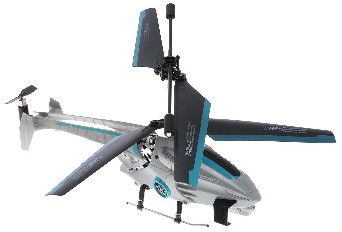 Auldey Вертолет на инфракрасном управлении Navigator цвет серый1107034Вертолет на инфракрасном управлении Auldey Navigator - ценное приобретение как для ребенка, так и для взрослого. Отлично подходит для полетов в закрытых помещениях и на улице в безветренную погоду. Игрушка выполнена из прочного пластика с металлическими элементами и имеет два основных винта и один хвостовой. Вертолет стабилен в воздухе и легко управляется. Функции движения: подъем и снижение, движение вперед-движение назад, поворот по часовой или против часовой стрелки. Имеется система автопилот. Время полета - около 6,5 минут. Время зарядки составляет около 20 минут. Игра с этой замечательной моделью станет захватывающим приключением. Вертолет работает от встроенного аккумулятора, который можно заряжать от USB-кабеля (входит в комплект). Для работы пульта управления необходимо купить 6 батареек типа АА (в комплект не входят).