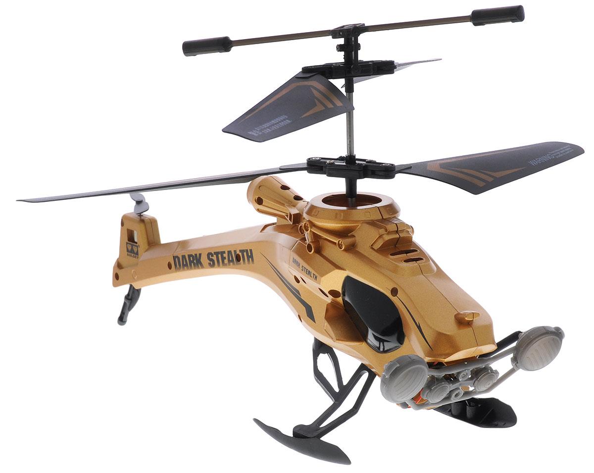 Auldey Вертолет на инфракрасном управлении Dark Stealth цвет золотистый1121070Вертолет на инфракрасном управлении Auldey Dark Stealth со встроенным гироскопом отлично подходит для полетов в закрытых помещениях и на улице. Гироскоп предназначен для курсовой стабилизации полета. Игрушка выполнена из прочного пластика с металлическими элементами и имеет два основных винта и один хвостовой. Вертолет стабилен в воздухе и легко управляется. Пульт управления позволяет вертолету летать в любом направлении, снижаться и набирать высоту. Высота полета - около 10 метров. Радиус управления - около 10 метров. Время полета - около 5-7 минут. Эта увлекательная игрушка понравится не только детям, но и взрослым, и подарит вам множество счастливых мгновений. Вертолет работает от встроенного аккумулятора, который можно заряжать от USB-шнура (входит в комплект). Для работы пульта управления необходимо купить 6 батареек типа АА (в комплект не входят).