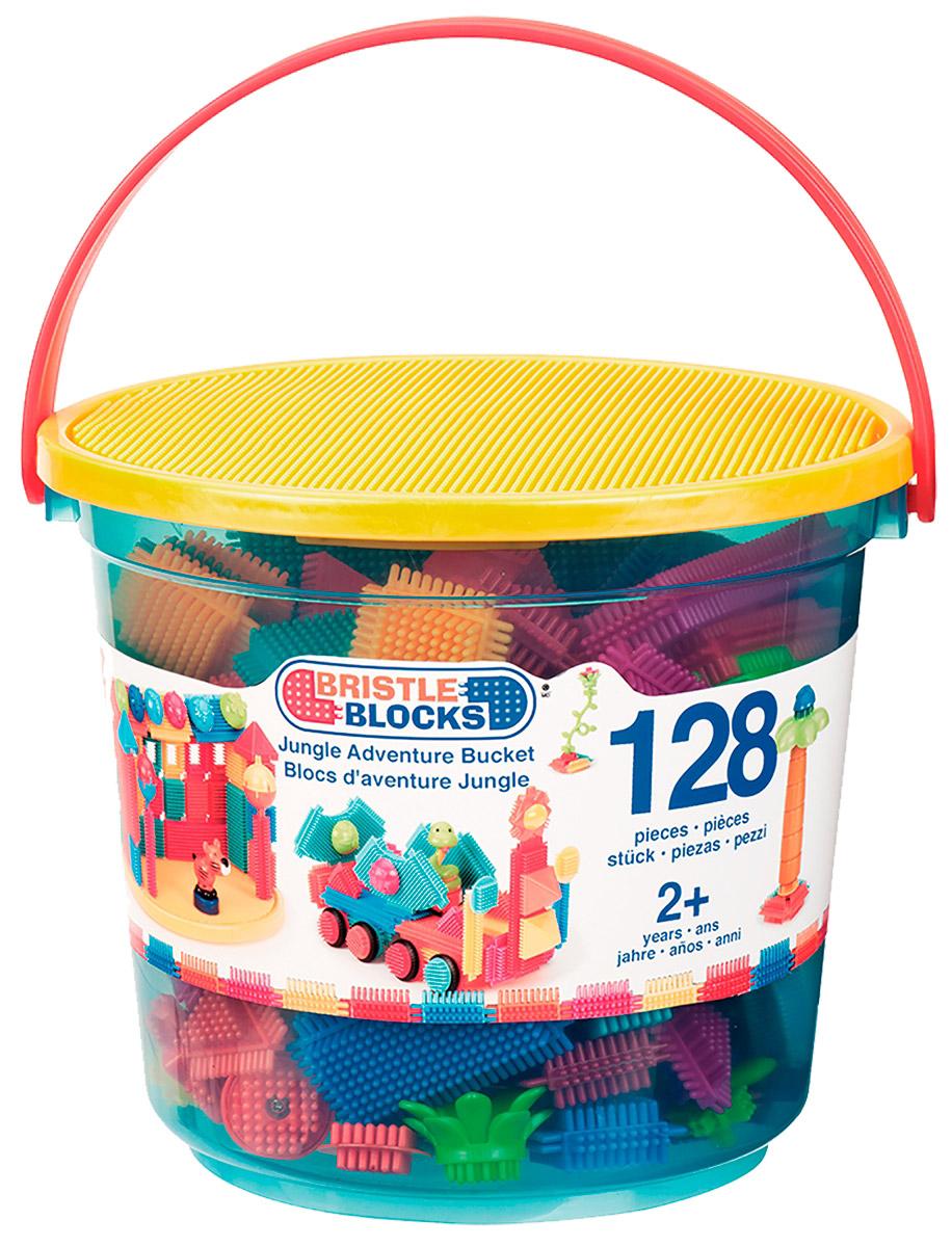Bristle Blocks Конструктор Путешествие в джунглях68171Bristle Blocks - бренд игольчатых конструкторов. Детали конструктора Путешествие в джунглях нежно массируют пальчики и развивают мелкую моторику у ребенка. Они легко соединяются друг с другом, с их помощью можно строить то, что придумаете вы сами, или то, что предложено в инструкции. Стройте свой собственный мир, где только воображение сможет вас ограничить! Конструктор надолго займет внимание вашего ребенка. Набор дополнен необычными элементами: фигурками животных и человечков, растениями. Конструктор поставляется в удобной упаковке (пластиковое ведерко), которую можно использовать для дальнейшего хранения игрушки.