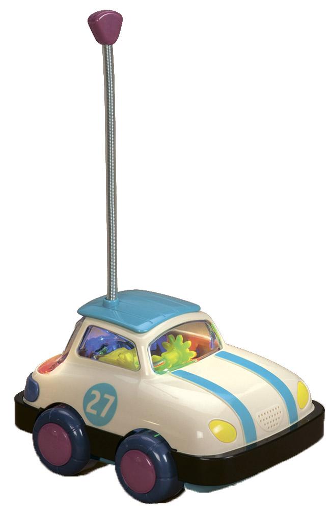 B.Dot Машинка на радиоуправлении цвет бежевый синий68686Машинка на радиоуправлении B.Dot - первая игрушка вашего ребенка на дистанционном управлении. Пульт разработан специально для маленьких ручек. Машинка гудит, мигает огоньками и кружится. Столкнувшись с препятствием, машинка разворачивается. Мощный радиосигнал функционирует в диапазоне всех комнат. С помощью одной кнопки ваш малыш управляет целым миром или, по меньшей мере, очень важной его частью. Для работы машинки рекомендуется докупить 4 батарейки напряжением 1,5V типа АА (товар комплектуется демонстрационными). Для работы пульта управления необходимо купить 1 батарейку типа Крона (в комплект не входит).