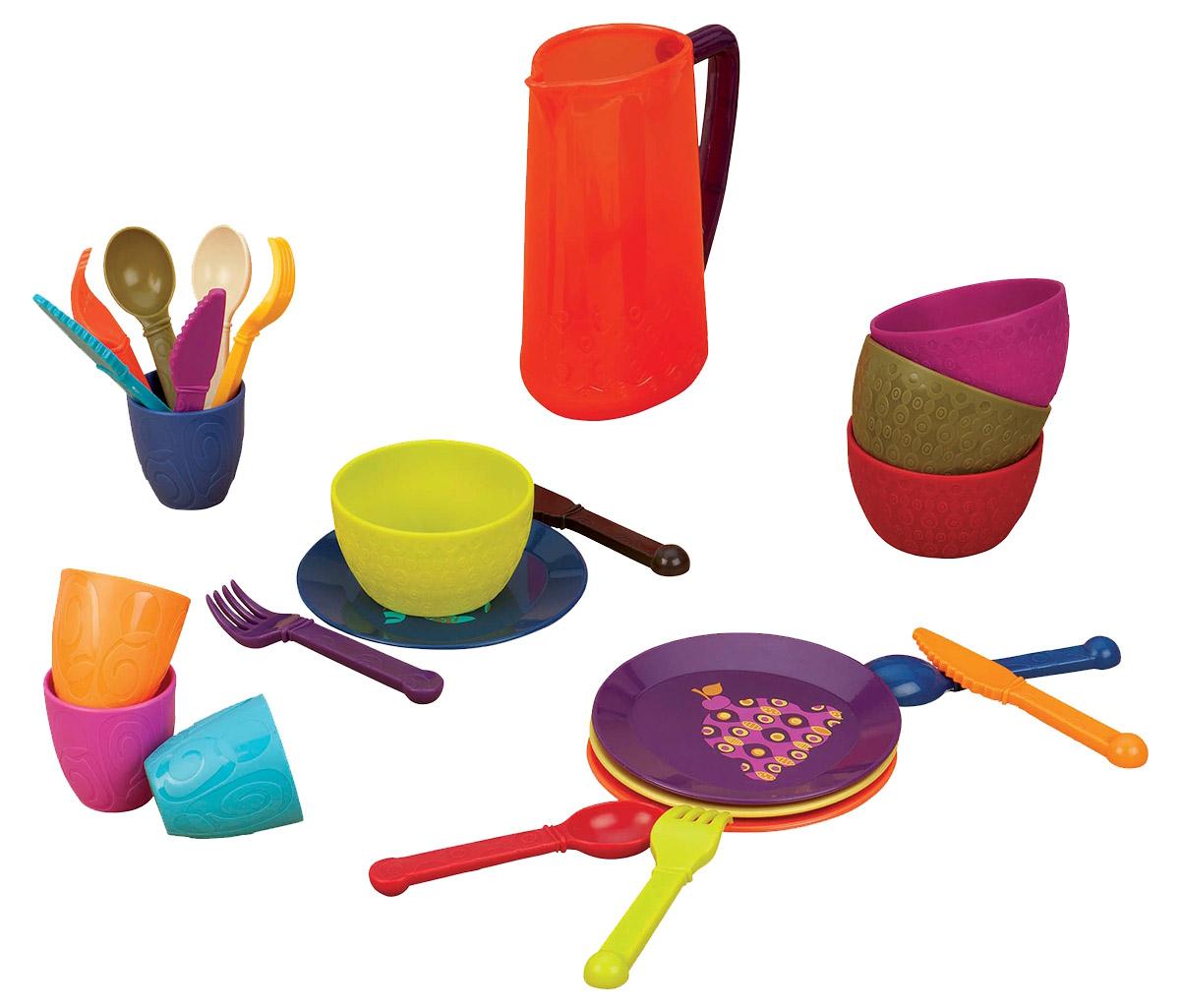 B.Dot Игрушечный набор посуды68693Игрушечный набор посуды B.Dot из 25 предметов для вкусных угощений! Полный красочный набор посуды для завтрака, обеда и ужина. А может просто для веселой вечеринки! Все элементы набора убраны в удобную сумочку для хранения и транспортировки. Посуда будет прекрасно смотреться на кукольной кухне и будет незаменима во время приготовления еды для кукол. Все элементы набора выполнены из качественных и безопасных материалов. Набор развивает фантазию, расширяет кругозор ребенка и помогает развить хозяйственные навыки.