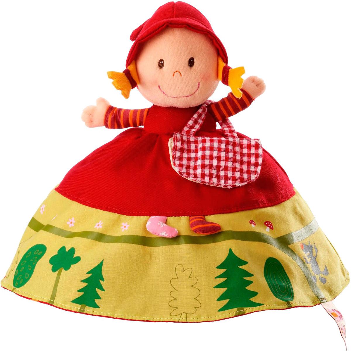 Lilliputiens Мягкая кукла Красная шапочка Бабушка Волк86158Мягкая кукла Красная шапочка окажется самой необычной игрушкой вашей малышки. Кукла в длинном красно-белом платье. Если поднять платье Красной Шапочки - увидишь улыбающееся лицо Бабушки, затем снимешь шапочку Бабули и обнаружишь зубастого Волка. Ах да, Волк одет в Бабушкин розовый халат в цветочек, его серые лапы торчат из клетчатых рукавов. Путь через лес изображен в нижней части платья Красной Шапочки по кругу и заканчивается крадущимся Волком. Сумочка с фруктами и вареньем, которая открывается и закрывается щелчком, прикреплена к ее платью. Наряд Бабушки в нижней части демонстрирует иллюстрации ее дома - столы и стулья, кровать, а на обратной стороне у Волка в одежде Бабушки на животике есть красная заплатка, изображающая Дровосека. Открой заплатку, и ты увидишь бабушку и Красную Шапочку (Дровосек в конце сказки их освобождает). Забавные детали делают эту трехстороннюю мягкую куклу очень популярной, наряду с классической сказкой на экране. ...