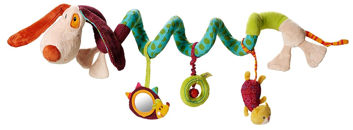 Lilliputiens Игрушка-подвеска Собачка Джеф86272Очаровательная спиральная игрушка-подвеска Lilliputiens Собачка Джеф предназначена для детишек с самого рождения. Собачка Джеф обвивается вокруг манежа, коляски, детской кроватки и автокресла и делает все возможное чтобы развлечь малыша: протягивая ему поиграться: зеркальце в виде ежика, свои лапки-шуршалки, колокольчик и кошечку-пищалку. Игрушка выполнена из безопасных гипоаллергенных материалов. Яркие цвета, разная текстура и звук надолго привлекут внимание ребенка. Подвеска легко и быстро снимается, не требует дополнительных элементов для крепления и станет незаменимой игрушкой в поездке. Игрушка-подвеска Lilliputiens развивает мелкую моторику, осязательные навыки, слух и цветовое восприятие ребенка.