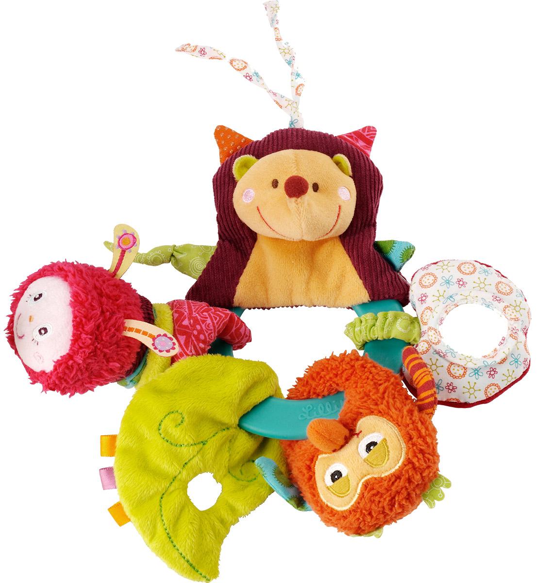 Lilliputiens Развивающая игрушка Ежик Симон 8631786317На брелоке-колечке уютно разместились ежик Симон и его друзья. Здесь имеется все для веселой игры малыша: зеркальце, погремушка, прорезыватель. Различные текстуры игрушки развивают мелкую моторику рук и тактильные ощущения малыша. Колечко можно прикрепить к детскому стульчику или сидячей коляске так, чтобы малыш мог до него дотянуться. Если малыш встряхнет Джульетту - услышит шум листьев, может смотреться в зеркальце и грызть кольцо-прорезыватель. Lilliputies - это удивительные развивающие игрушки для самых маленьких. Все игрушки отличаются безупречным качеством и безграничной креативностью.