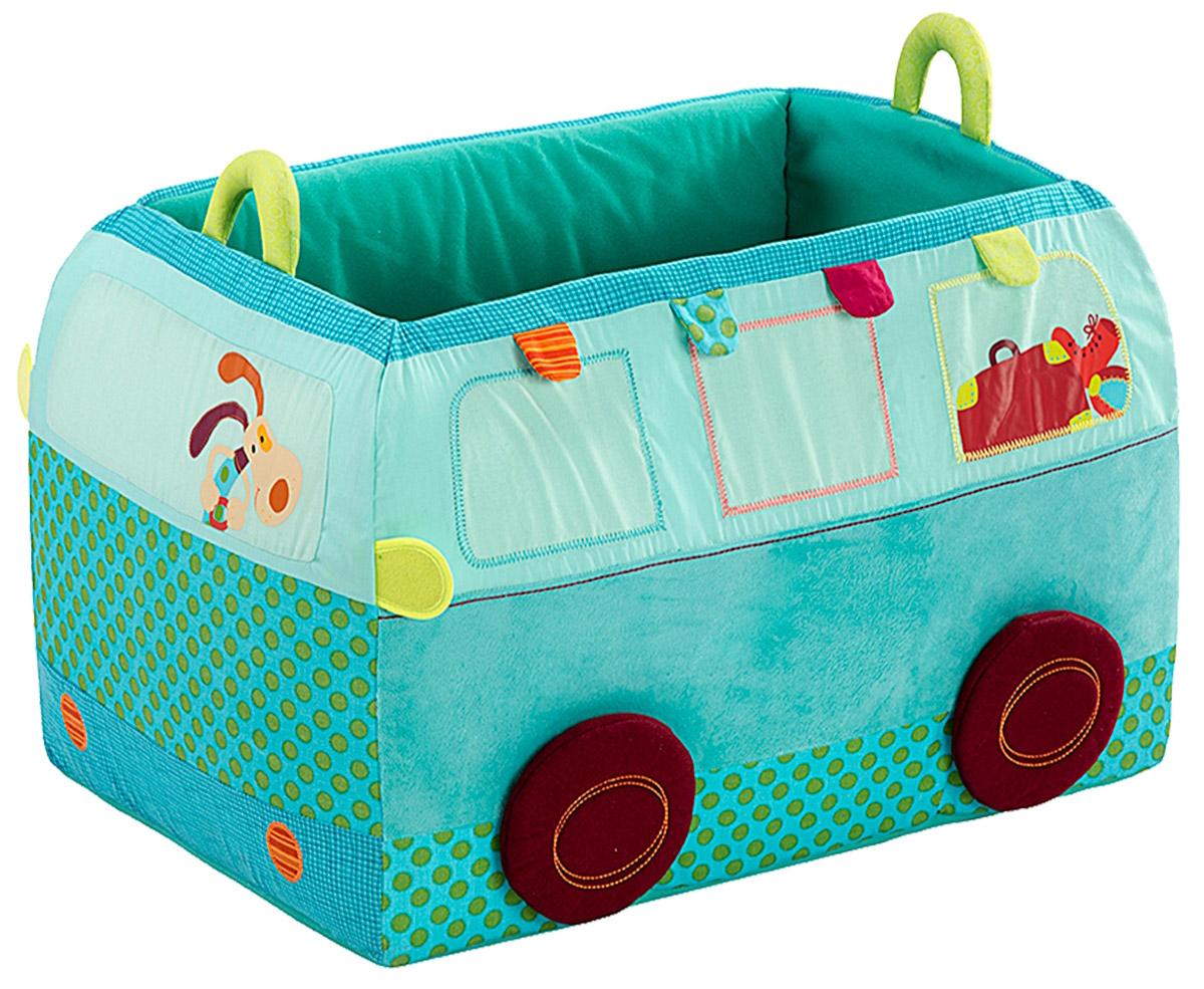 Lilliputiens Ящик для игрушек Собачка Джеф86381В ящике для игрушек Lilliputiens Собачка Джеф не только удобно хранить все свои вещи, но он также сможет украсить комнату любого ребенка. В этом большом ящике в форме автобуса все игрушки будут в целости и сохранности. Корзина дополнена удобными ручками и выполнена из прочных материалов. После целого дня веселья и игр пора навести в комнате порядок. Это будет конечная остановка в комнате для Джефа и его автобуса!
