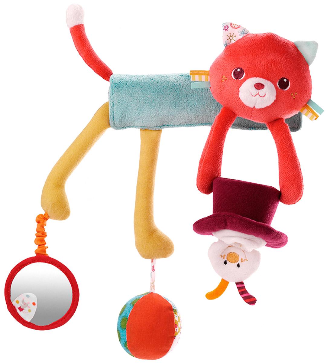 Lilliputiens Игрушка-подвеска Кошечка Коллет86574Очаровательная игрушка-подвеска Lilliputiens  Кошечка Коллет предназначена для детишек с самого рождения. Она легко крепится на спинку стульчика, кроватки, манежа или автокресла. У кошечки прямой мягкий хвостик и несколько интересных подвесок, которые успокоят малыша своими эффектами. Среди них шар-погремушка, небольшая шляпа с выскакивающим из нее кроликом и круглое зеркальце. Игрушка выполнена из безопасных гипоаллергенных материалов. Яркие цвета, разная текстура и звук надолго привлекут внимание ребенка. Подвеска легко и быстро снимается, не требует дополнительных элементов для крепления и станет незаменимой игрушкой в поездке. Игрушка- подвеска Lilliputiens Кошечка Коллет развивает мелкую моторику, осязательные навыки, слух и цветовое восприятие ребенка.