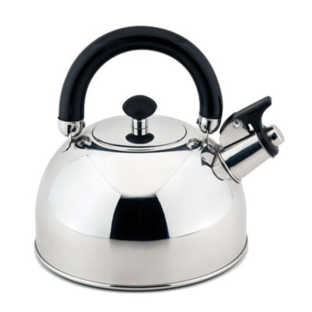 Чайник Esprado Ritade со свистком, 2,5 лRITL25GE113Чайник Esprado Ritade изготовлен из высококачественной нержавеющей стали, что обеспечивает долговечность использования. Внешнее глянцевое покрытие придает приятный внешний вид. Чайник оснащен подвижной стальной ручкой с бакелитовой вставкой, что предотвращает появление ожогов и обеспечивает безопасность использования. Чайник снабжен свистком и устройством для открывания носика. Подходит для использования на всех видах плит, включая индукционные. Не рекомендуется мыть в посудомоечной машине.