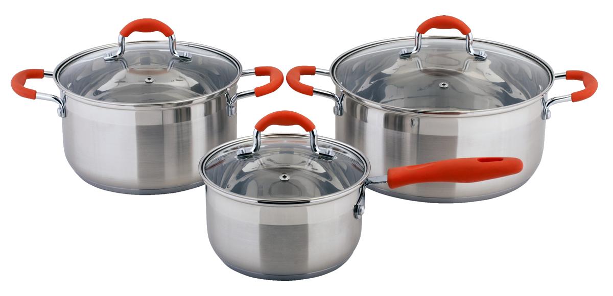 Набор посуды Esprado Tezoro, 6 предметовTEZ6000E133Набор посуды Esprado Tezoro состоит из ковша с крышкой и двух кастрюль с крышками. Изделия выполнены из специальной высококачественной нержавеющей пищевой стали. Матовая полировка внешнего покрытия придает посуде эстетичный стильный вид. Трехслойное термоаккумулирующее дно с прослойкой из алюминия обеспечивает наилучшее распределение тепла. Ручки, оснащенные силиконовыми накладками, не перегреваются во время приготовления пищи. Крышки, выполненные из термостойкого стекла, позволяют следить за процессом приготовления пищи. Они снабжены отверстиями для выхода пара и стальным ободом. Посуда предназначена для здорового и экологичного приготовления пищи. Внутренняя гладкая поверхность легко чистится - можно мыть в воде руками или протирать полотенцем. Также на внутренней стороне изделий имеется шкала литража. Подходит для всех типов плит, включая индукционные. Не предназначена для СВЧ-печей. Можно мыть в посудомоечной машине. Подходит...