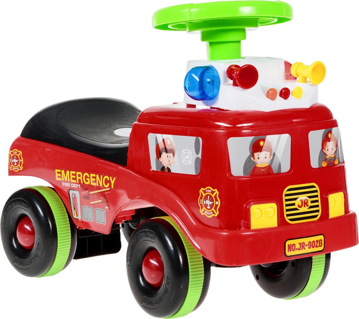 J.R. TOYS Каталка детская Пожарная машинаJR-902DRЯркая каталка детская J.R. TOYS Пожарная машина - настоящая находка для вашего малыша. Выполненная из безопасного пластика красного цвета, устойчивая и прочная каталка будет отличным средством передвижения вашего ребенка. Колеса игрушки прорезинены, что обеспечивает отличное сцепление с любой поверхностью пола. На такой игрушке ваш ребенок сможет с легкостью преодолевать любые препятствия. Для того чтобы покататься, малышу достаточно просто сесть на сиденье и, отталкиваясь ногами, катиться вперед. Каталка детская J.R. TOYS Пожарная машина улучшает координацию движений ребенка, баланс и моторику. На этой замечательной каталке ваш ребенок будет чувствовать себя комфортно и безопасно, а прогулки станут веселее и интереснее. Каталка обладает световыми и звуковыми эффектами для большей увлеченности малыша. Необходимо купить 2 батарейки типа АА (не входят в комплект).