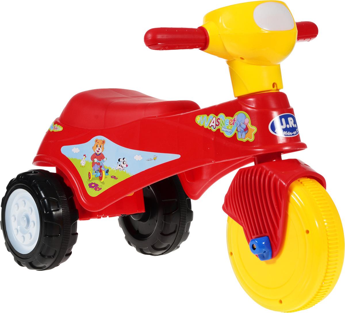 J.R. TOYS Каталка детская Трицикл цвет красныйJR-911ARКаталка детская J.R. TOYS Трицикл - настоящая находка для вашего ребенка. Выполненная из безопасного пластика красного цвета, устойчивая и прочная каталка будет отличным средством передвижения вашего ребенка. Малыш на ней сможет с легкостью преодолевать любые препятствия на своем пути. Для того чтобы покататься, малышу достаточно просто сесть на сиденье и, отталкиваясь ногами, катиться вперед. Каталка детская J.R. TOYS Трицикл улучшает координацию движений ребенка, баланс и моторику. На этой замечательной каталке ребенок будет чувствовать себя комфортно и безопасно, а прогулки станут веселее и интереснее.