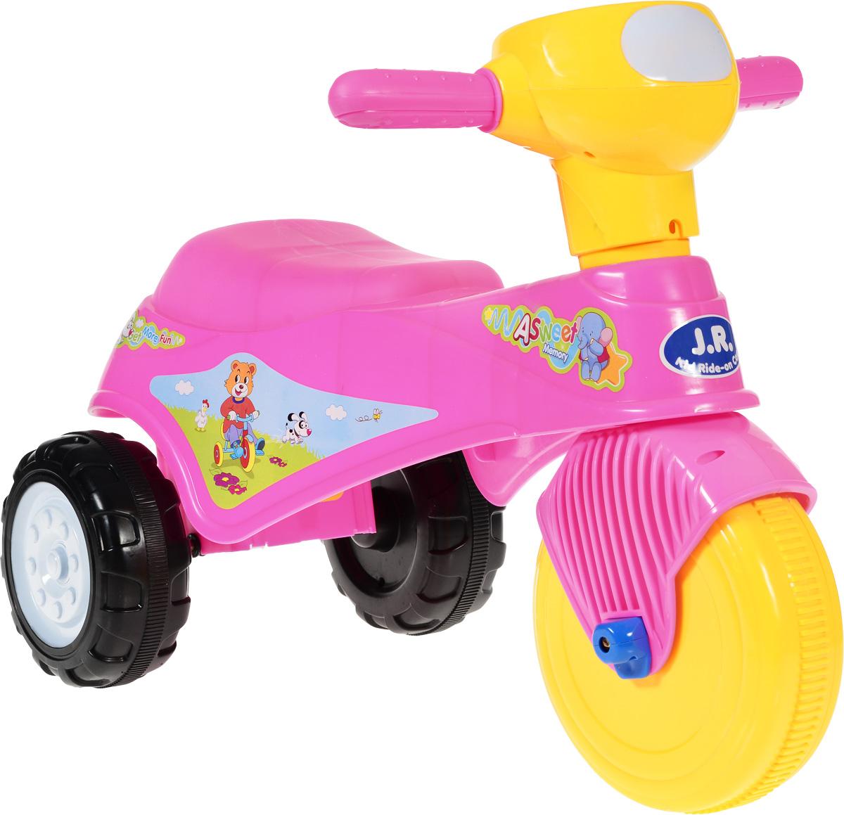 J.R. TOYS Каталка детская Трицикл цвет розовыйJR-911APЯркая каталка детская J.R. TOYS Трицикл - настоящая находка для вашей малышки. Выполненная из безопасного пластика розового цвета, устойчивая и прочная каталка будет отличным средством передвижения вашего ребенка. Ребенок сможет с легкостью преодолевать любые препятствия на своем пути. Для того чтобы покататься, малышке достаточно просто сесть на сиденье и, отталкиваясь ногами, катиться вперед. Каталка детская J.R. TOYS Трицикл улучшает координацию движений ребенка, баланс и моторику. На этой замечательной каталке ваша дочка будет чувствовать себя комфортно и безопасно, а прогулки станут веселее и интереснее.