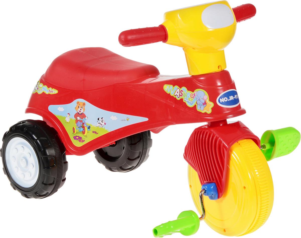 J.R. TOYS Велосипед детский Трицикл цвет красныйJR-911BRВелосипед-каталка J.R. TOYS Трицикл непременно понравится вашему ребенку. Каталка выполнена из яркого высококачественного пластика и выдерживает нагрузку до 25 кг. Ручки удобны для захвата маленькими детскими ладошками. Велосипед очень устойчив за счет переднего колеса и широкой задней колесной базы. Главный плюс такой каталки в том, что она приводится в движение педалями. Частые поездки на таком средстве передвижения приучают ребенка к физической активности, что благотворно влияет на его общее развитие. А также модель создана для развития мускулатуры ног, координации движений и вестибулярного аппарата ребенка. Порадуйте своего ребенка таким замечательным подарком! Изделие поставляется в разобранном виде.