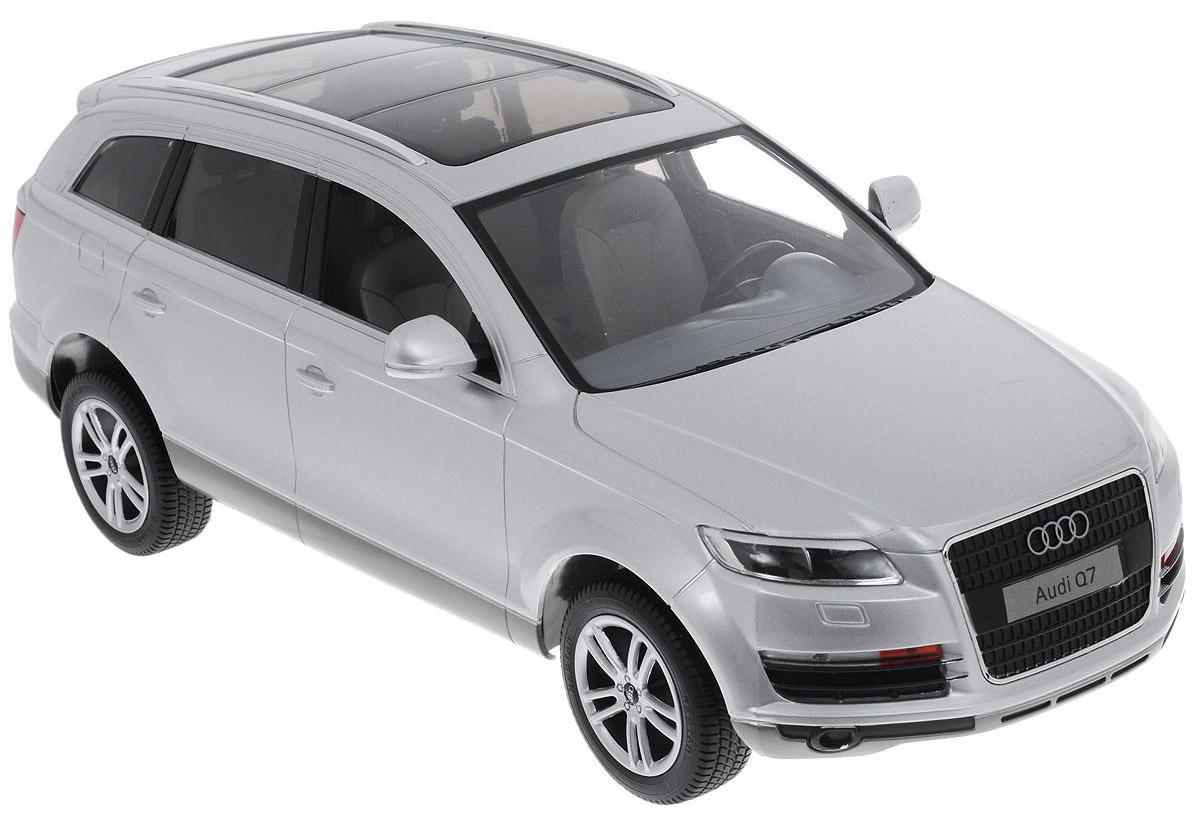 Rastar Радиоуправляемая модель Audi Q7 цвет серебристый масштаб 1:1427400Автомобиль радиоуправляемый Особенности: Движение во всех направлениях Независимая система подвески Узнаваемый стиль с шаблонным корпусом