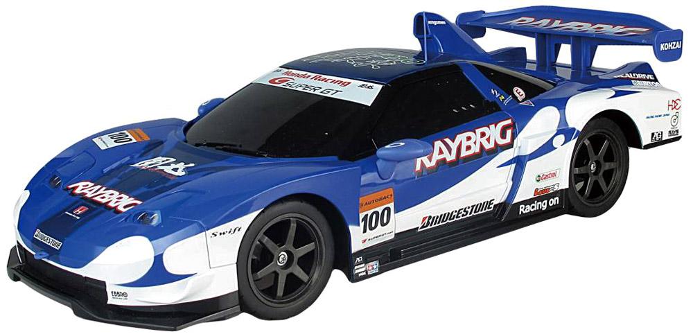 Auldey Радиоуправляемая модель Honda NSX Super GTLC227620-6Модель Honda NSX Super GT является точной уменьшенной копией известного автомобиля и управляется при помощи 3-х частотного пульта. Пульт имеет рычаг и колесико управления, при помощи которых машина может двигаться вперед, назад, влево, вправо. Модель оборудована светом передних и задних фар, независимой подвеской передних и задних колес, что делает процесс управления захватывающим. Такая модель станет отличным подарком не только любителю автомобилей, но и человеку, ценящему оригинальность и изысканность, а качество исполнения представит такой подарок в самом лучшем свете. Продукция Auldey поразительно реалистична, обладает высококачественным полнофункциональным радиоуправлением. Характеристики: Размер пульта: 18 см x 5,5 см x 23,5 см. Размер автомобиля: 46 см x 20 см x 12,5 см. Материал: пластик, металл. Радиус действия: 20 м. Скорость: 10 км/ч. Размер упаковки: 53,5 см x 26 см x 24 см. Пульт работает от 2 батареек класса АА (не...