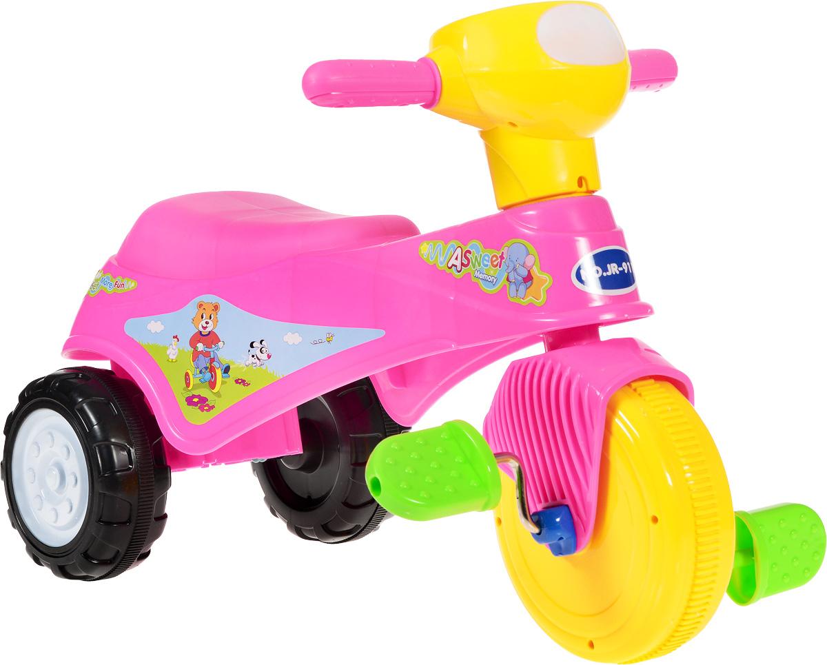 J.R. TOYS Велосипед детский Трицикл цвет розовыйJR-911BPВелосипед-каталка J.R. TOYS Трицикл непременно понравится вашей малышке. Каталка выполнена из яркого высококачественного пластика розового цвета и выдерживает нагрузку до 25 кг. Ручки удобны для захвата маленькими детскими ладошками. Каталка очень устойчива за счет переднего колеса и широкой задней колесной базы. Главный плюс такой каталки в том, что она приводится в движение педалями. Частые поездки на таком средстве передвижения приучают ребенка к физической активности, что благотворно влияет на его общее развитие. А также модель создана для развития мускулатуры ног, координации движений и вестибулярного аппарата ребенка. Порадуйте свою дочку таким замечательным подарком!