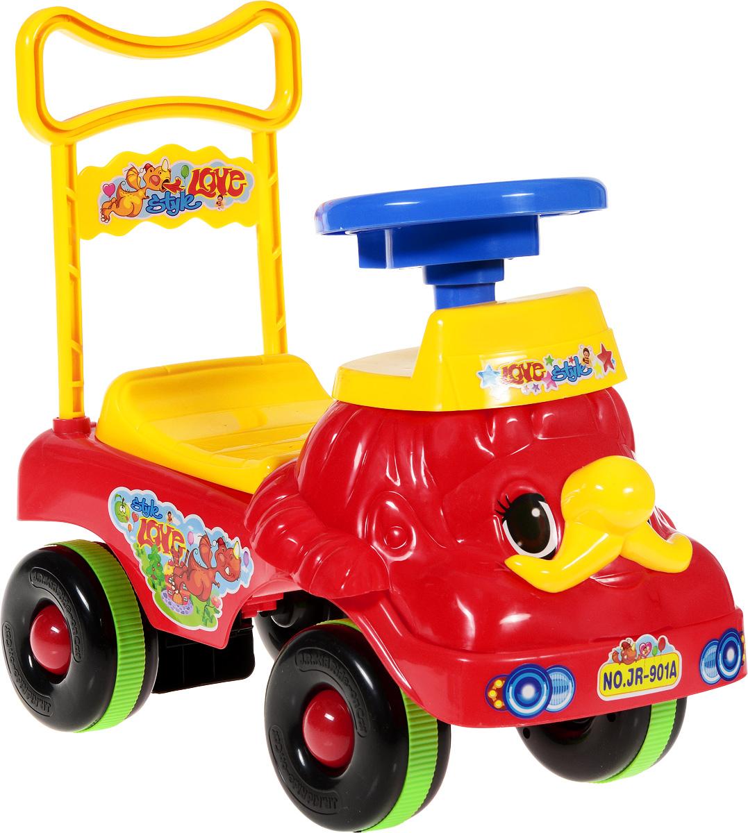 J.R. TOYS Каталка детская цвет красный желтыйJR-901AДетская каталка J.R. TOYS - яркая и удобная машинка, на которой с удовольствием будут кататься малыши старше 18 месяцев. Изделие выполнено из яркого и полностью безопасного для ребенка материала. Машина имеет удобное сиденье со спинкой, широкие устойчивые колеса и руль, который позволит ребенку в полной мере ощутить себя водителем. Спинка высокая. Она может служить ручкой для малыша, который использует машинку в качестве ходунков, толкая ее перед собой. Под сиденьем имеется место для различных игрушек. Модель оснащена звуковыми эффектами. Эффектный дизайн сделает игрушку центром внимания всех на детской площадке. Необходимо купить 2 батарейки напряжением типа АА (не входят в комплект).