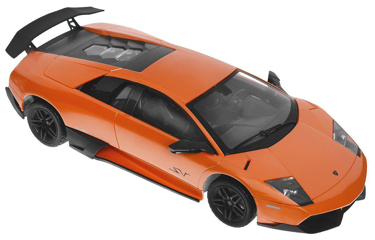 Rastar Радиоуправляемая модель Lamboighini Murcielago LP670-4 SV цвет оранжевый38900Радиоуправляемая машинка Lamborghini Murcielago LP670-4 от Rastar в точности повторяет настоящий автомобиль в пропорциях 1:14. Полнофункциональная радиоуправляемая модель. Пульт радиоуправления на частоте 27 MHz. Включающиеся передние и задние фары. Дальность управления 25 метров. Развиваемая скорость 7 км/час. В ассортименте цвета: оранжевый, желтый. Питание: 3x1.5AA, в пульт 2x1.5AA. Комплект требует: 2хАА для пульта, 3хАА для питания модели.