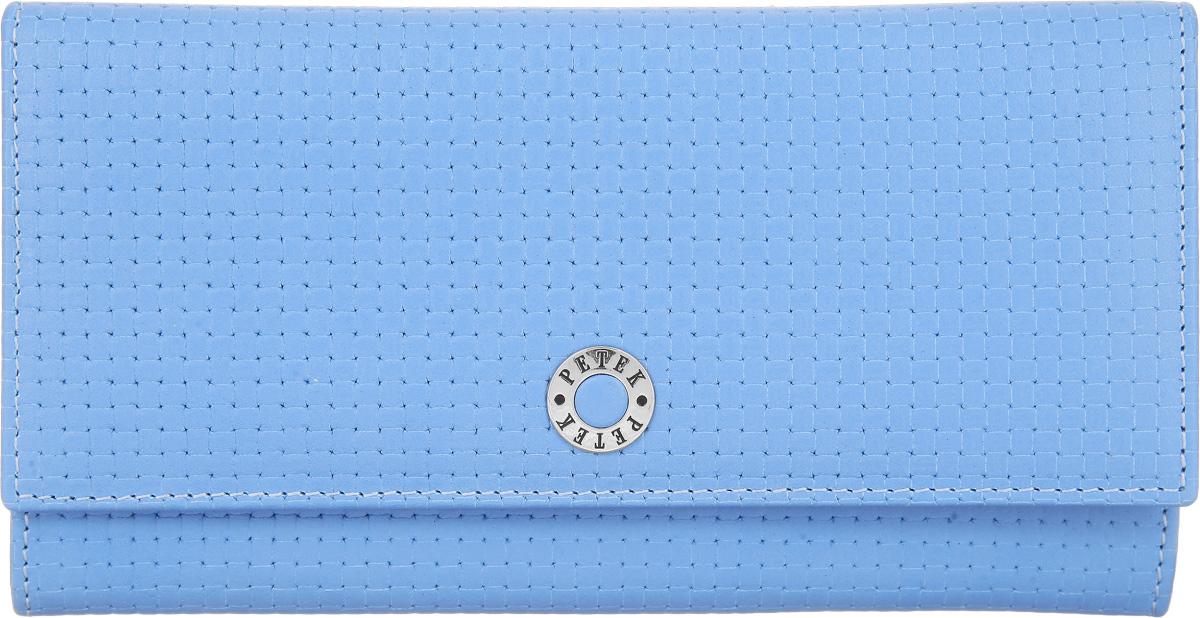 Портмоне женское Petek 1855, цвет: голубой. 379.020.74379.020.74 Violet BlueЭлегантное женское портмоне Petek 1855 выполнено из натуральной кожи с декоративным фактурным тиснением, оформлено металлической фурнитурой с символикой бренда. Изделие закрывается клапаном на кнопку, внутри содержит: отделение для купюр, три кармашка для мелких документов, пять карманов для кредитных карт, один из которых дополнен сетчатой вставкой. Снаружи, на задней стороне изделия, расположены: вместительный открытый кармашек и врезной карман на молнии. Изделие упаковано в коробку из плотного картона с логотипом фирмы. Это очаровательное портмоне непременно подойдет к вашему образу, порадует стилем и функциональностью.