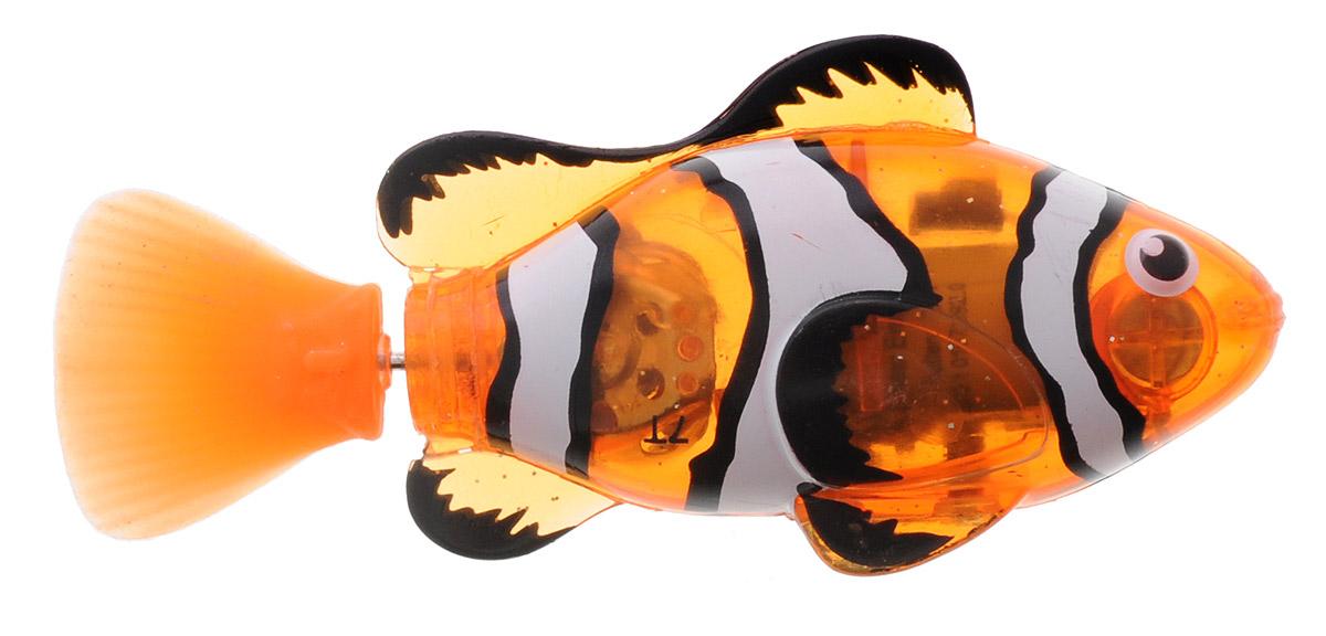 Robofish Интерактивная игрушка РобоРыбка на дистанционном управлении2572А_новИнтерактивная игрушка Robofish РобоРыбка с инфракрасным пультом дистанционного управления позволит не только наблюдать за невероятно естественными движениями рыбки, но управлять ею. Рыбка светится, имитирует движения и повадки настоящей рыбки, как только попадает в воду. Рыбка имеет 2 режима управления с пульта: автоматический и ручной. В ручном режиме можно регулировать переключателем скорость (3 скорости) и джойстиком направление движения рыбки. В автоматическом режиме можно выбрать 3 разных типа движения: бассейн - рыбка плавает по большому кругу (подходит для игры в бассейне, ванне); аквариум - рыбка плавает по маленькому кругу (походит для игры в аквариумах и других небольших емкостях с водой) и кошка - рыбка двигается, будто спасается от настоящей кошки. В комплекте имеется дополнительный хвост - с ним рыбка совершает разворот на 360 градусов. Упаковка представляет собой аквариум, который можно брать с собой и играть где угодно. С этим...