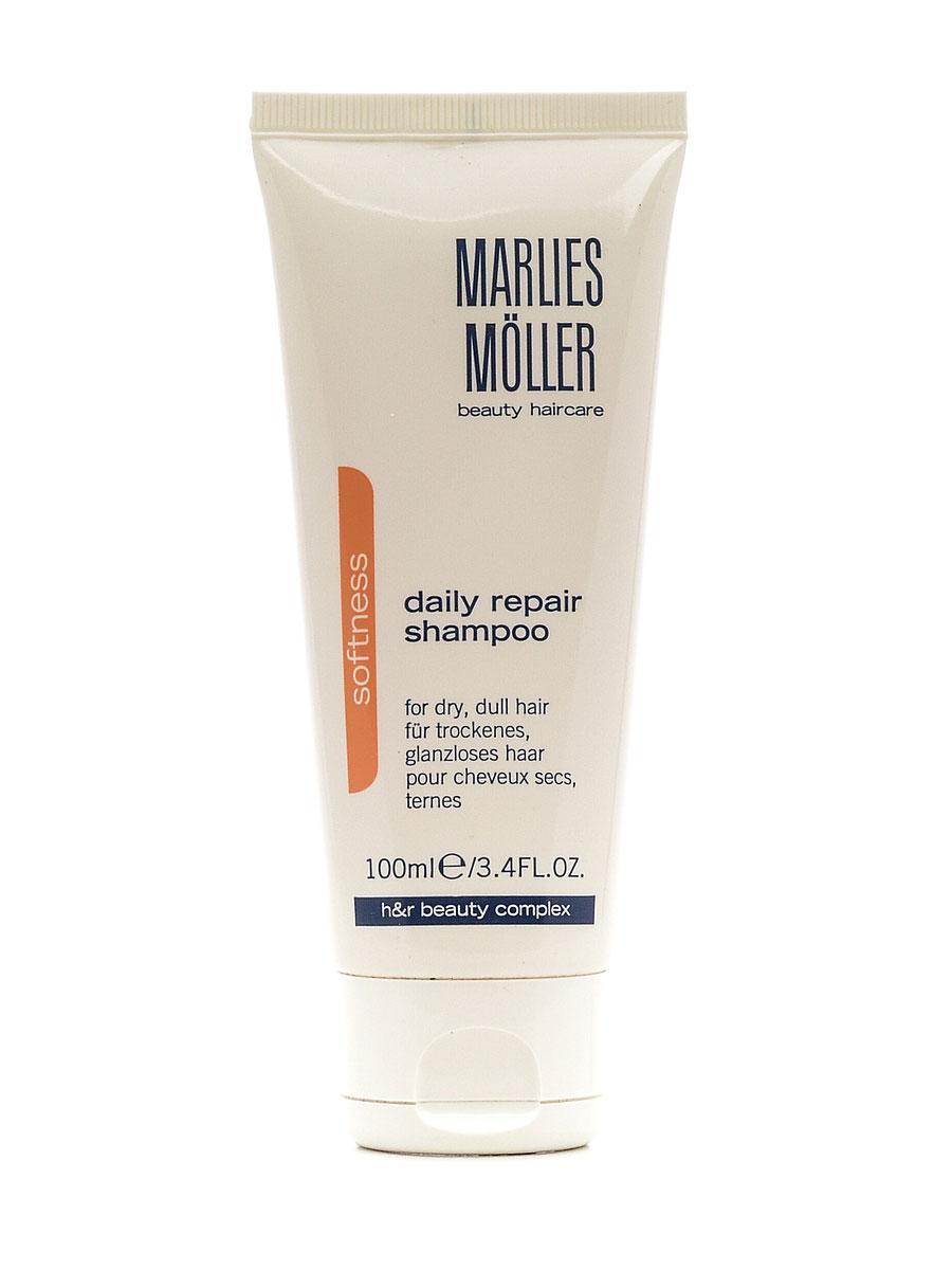 Marlies Moller Softness Ежедневный восстанавливающий обогащенный шампунь, 100 мл21005MMПредрасположенность к сухим волосам может являться наследственной – тем более, в случае, когда волосы густые. Однако, часто при химических воздействиях таких как, окрашивание волос, обесцвечивание или химическая завивка, волосы становятся сухими и тусклыми. Также и климатические факторы – солнце, ветер, холод или сухой воздух вследствие работы отопления – повреждают волосы. Теперь они нуждаются в интенсивном уходе, который питает волосы, выравнивает шероховатую структуру волос и обеспечивает необходимое увлажнение. Новый DAILY REPAIR Rich Shampoo ухаживает за волосами с помощью масел Пассифлоры и Камелины (Золотое Удовольствие). Эти питательные не жирные масла смягчают волосы и придают им великолепное сияние. Активный ингредиент Polymoist обеспечивает дополнительное увлажнение и эластичность. Шампунь образует легкую, кремообразную пену, которая особенно мягко очищает волосы. Поэтому DAILY REPAIR Rich Shampoo подходит для ежедневного использования и также подходит для...