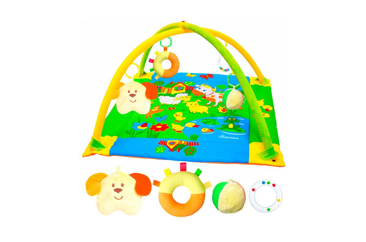 Развивающий коврик Лужайка, с собачкой, 90 см x 90 см191Яркий развивающий коврик Лужайка станет первой площадкой для игр вашего малыша. Коврик Лужайка - это сенсорный тренажер для ориентировки малыша в пространстве, насыщенный цветами, изображениями и объемными формами, также это чудесный мир персонажей, эмоционально близких маленькому ребенку. Прямоугольный набивной коврик выполнен из необычайно мягкого и приятного на ощупь материала с яркими цветными рисунками. На поверхности коврика малыш найдет шуршащий пруд с рыбкой и лягушкой, домик с открывающимся окошком и яркие изображения домашних животных, резвящихся на летней лужайке. Коврик оборудован двумя съемными дугами, которые помогут малышу расслабиться, обеспечивая визуально безопасное пространство, напоминающее о пребывании в уютном мамином животике. На дугах малыш найдет четыре развивающие съемные игрушки: мячик-погремушку, мягкую собачку-погремушку, мягкое кольцо-погремушку и погремушку в виде прозрачного колечка с шариками внутри. Размер коврика идеален для...