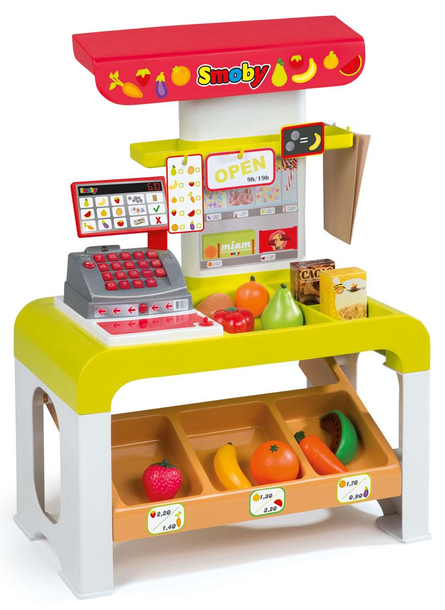 Smoby Игровой набор Супермаркет Storetronic24423Игровой набор Smoby Супермаркет Storetronic даст возможность ребенку научиться правильно действовать в магазине, самостоятельно осуществлять покупки, контролировать деньги и правильно вести наличный денежный расчет, оплачивать покупки банковской карточкой. Касса в этом наборе - электронная, со звуковыми эффектами. В набор входят прилавок супермаркета, касса, муляжи продуктов для продажи, деньги для покупок (бумажные и мелочь), банковская карта, аксессуары. Приглашайте друзей, выдавайте им игрушечные деньги и начинайте торговаться, пришло время выяснить, кто станет самым лучшим продавцом и получит больше всего прибыли. Кроме того, подсчитывая деньги и работая с кассой, ребенок расширит свои знания в области арифметики и научится лучше считать. Ведь он поймет, как навыки, которые он получает в детском саду и школе, можно применить в жизни. Необходимо купить 3 батарейки типа АА (не входят в комплект).