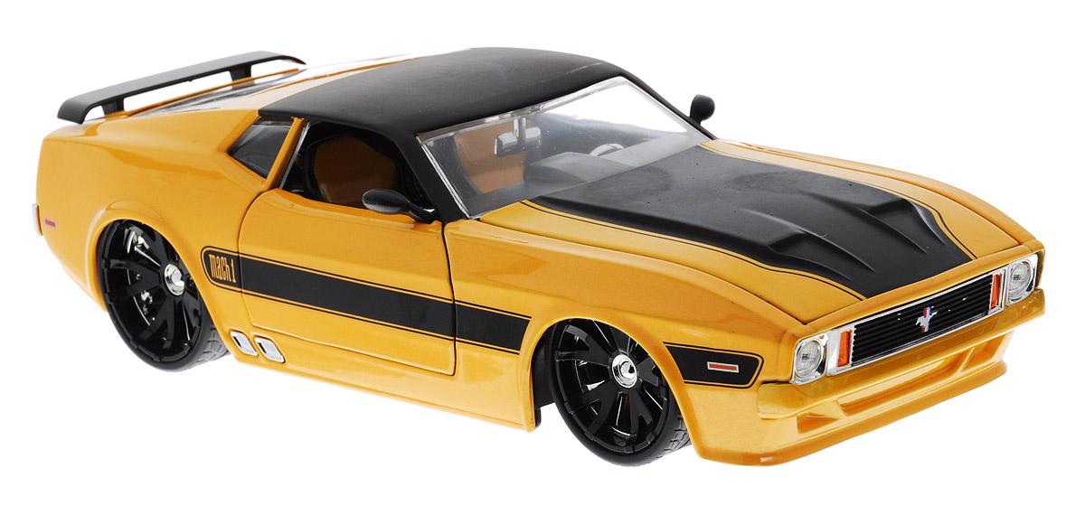 Jada Модель автомобиля 1973 Ford Mustang Mach 1 цвет желтый96764YМодель автомобиля Jada 1973 Ford Mustang Mach 1 будет отличным подарком как ребенку, так и взрослому коллекционеру. Благодаря броской внешности, а также великолепной точности, с которой создатели этой модели масштабом 1:24 передали внешний вид настоящего автомобиля, модель станет подлинным украшением любой коллекции авто. Машина будет долго служить своему владельцу благодаря металлическому корпусу с элементами из пластика. Дверцы машины, капот и багажник открываются, шины обеспечивают отличное сцепление с любой поверхностью пола. Модель автомобиля Jada Ford Mustang Mach 1 1973 года выпуска обязательно понравится вашему ребенку и станет достойным экспонатом любой коллекции.