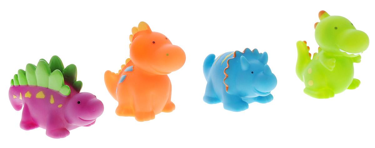 Alex Toys Набор игрушек для ванной Динозаврики 4 шт700DNС набором игрушек для ванной Alex Toys Динозаврики принимать водные процедуры станет еще веселее и приятнее. Набор состоит из четырех забавных динозавриков. Их размер удобен для маленьких детских ручек. Если сначала набрать воду в игрушки, а потом нажать на них, то из них брызнет тонкая струя воды, что, несомненно, развеселит вашего малыша. Набор доставит ребенку большое удовольствие и поможет преодолеть страх перед купанием. Игрушки для ванной способствуют развитию воображения, цветового восприятия, тактильных ощущений и мелкой моторики рук. Игрушки поставляются в удобной пластиковой сумочке.