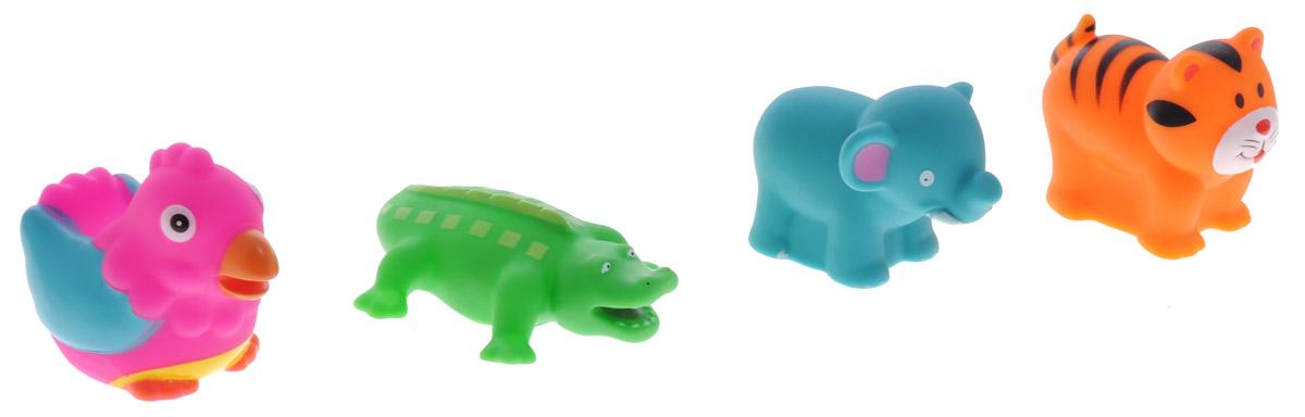 Alex Toys Набор игрушек для ванной Джунгли 4 шт700JNС набором для ванны Alex Toys Джунгли принимать водные процедуры станет еще веселее и приятнее. Набор включает в себя 4 игрушки: крокодила, попугая, слоника и тигренка. Все составляющие набора приятны на ощупь, имеют удобную для захвата маленькими пальчиками эргономичную форму и быстро сохнут. Забавным дополнением будет возможность игрушек брызгать водой при сжатии. Устраивайте водные сражения! Набор Alex Toys Джунгли поможет малышам приспосабливаться к водной среде, а процесс принятия водных процедур сделает веселым и увлекательным. Игрушки поставляются в удобной пластиковой сумочке.