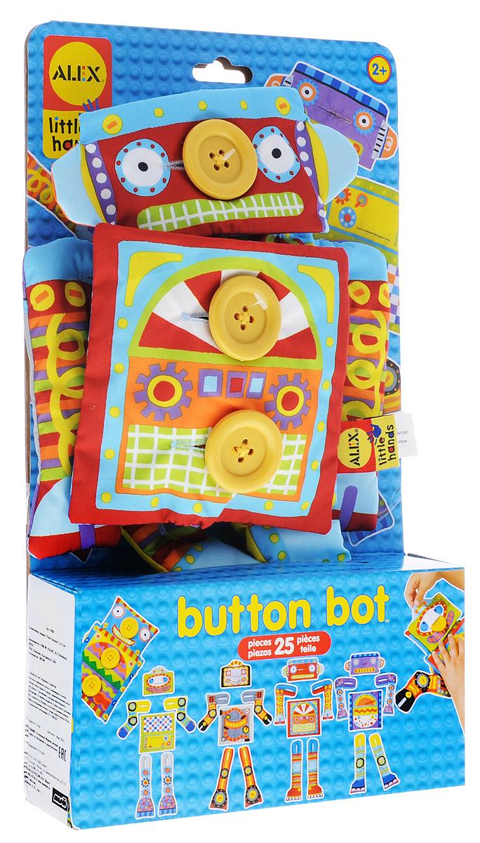 Alex Toys Развивающая игрушка Робот Пуговка1496RРазвивающая игрушка Alex Toys Робот Пуговка - необычная развивающая игрушка-конструктор. Это тряпичный робот, на котором расположены пуговицы. Играть с роботом понравится любому малышу. В комплекте имеются самые разные элементы, позволяющие менять внешний вид робота до неузнаваемости. Перед малышом стоит задача - пристегнуть выбранные элементы к телу робота при помощи пуговок. Совместно с ребенком вы можете создавать самые разные образы, подбирая необычные комбинации аксессуаров. Такая игра - хорошая тренировка для маленьких пальчиков и поле для развития творческих способностей. Игра развивает мелкую моторику и воображение.