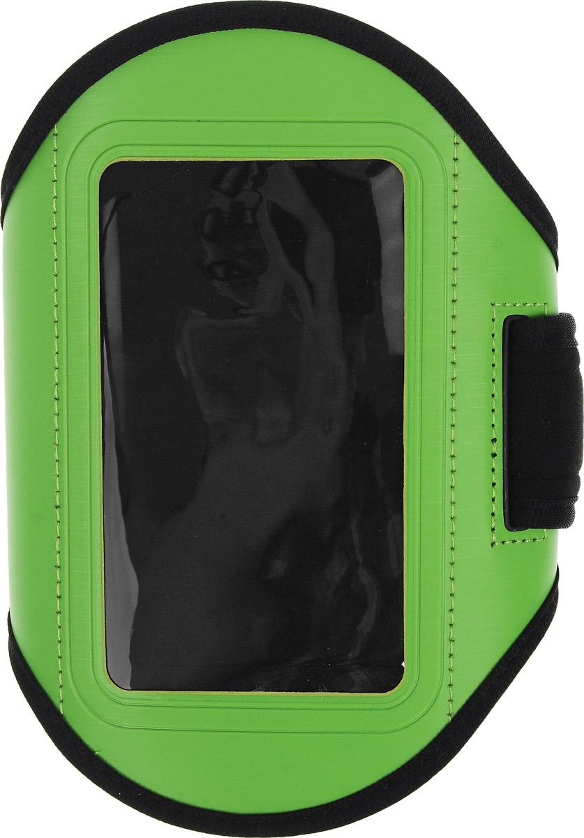 Чехол для телефона Sapfire, на руку, цвет: черный, зеленый0923-SAMСпортивный чехол для телефона на предплечье Sapfire регулируется под любой размер бицепса. Он выполнен из полиуретана и лайкры. Специальный ремень позволяет плотно закрепить смартфон на руке, что гарантирует его сохранность во время спортивных занятий. Отделка из дышащей ткани исключает раздражение кожи в месте крепления. Чехол подойдет для Iphone 4,4s и других устройств с большим экраном. Максимальный размер экрана: 5,1 дюйма. Чехол также оснащен маленьким кармашком для ключа. Максимальный обхват руки: 34 см. Минимальный обхват руки: 23 см.