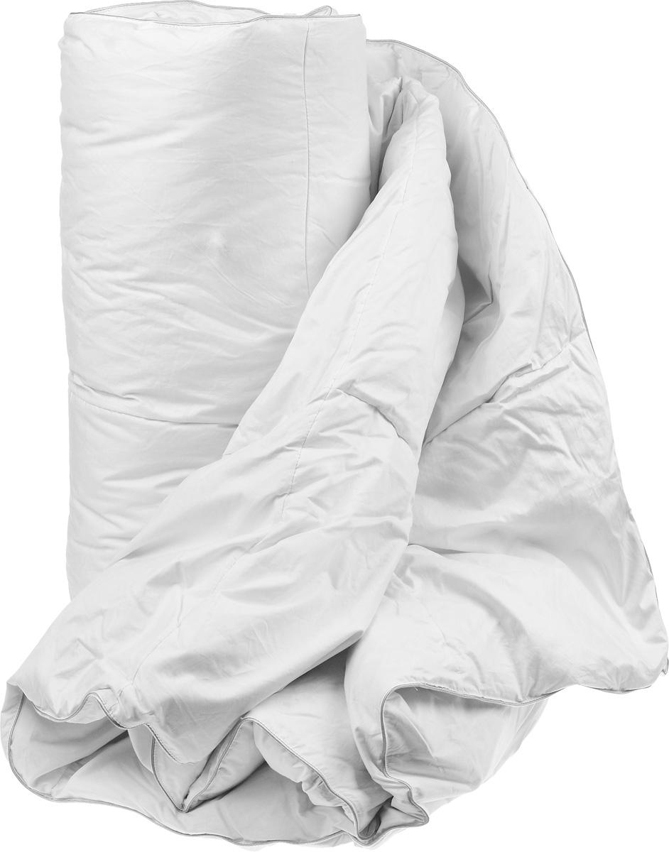 Одеяло теплое Легкие сны Камилла, наполнитель: гусиный пух категории Экстра, 172 х 205 см172(17)02-ЭБТеплое двуспальное одеяло Легкие сны Камилла поможет расслабиться, снимет усталость и подарит вам спокойный и здоровый сон. Одеяло наполнено серым гусиным пухом категории Экстра, оно необычайно легкое, пышное, обладает превосходными теплозащитными свойствами. Кассетное распределение пуха способствует сохранению формы и воздушности изделия. Чехол одеяла выполнен из прочного пуходержащего тика. Это натуральная хлопчатобумажная ткань, отличающаяся высокой плотностью, идеально подходит для пухо-перовых изделий, так как устойчива к проколам и разрывам, а также отличается долговечностью в использовании. Белый шелковый кант изящно подчеркивает форму. Цвет изделия дает возможность использовать постельное белье светлых оттенков. Это теплое и уютное одеяло согреет вас в холодную погоду, оно пропускает воздух и позволяет телу дышать, это обеспечивает крепкий и здоровый сон. Даже при открытом окне и минусовой температуре вам будет тепло и комфортно. Теплое одеяло...
